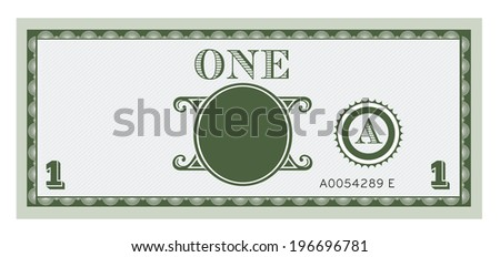 One money bill image. With space to add your text, information and image.  - stock vector