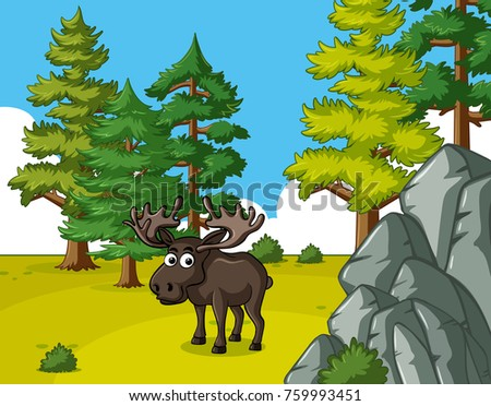 One Moose Standing Field Illustration Stock Vector 2018 759993451