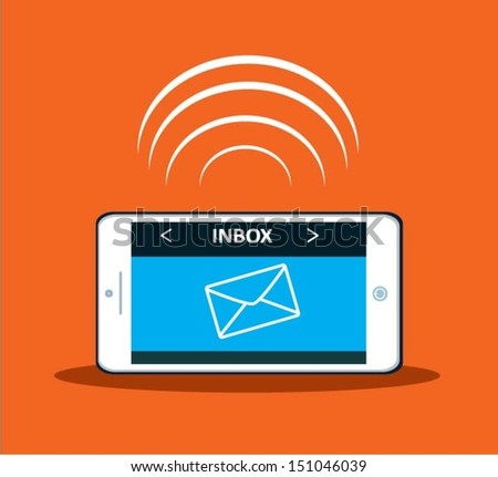 One new message on a smart phone. Vector eps 10. - stock vector