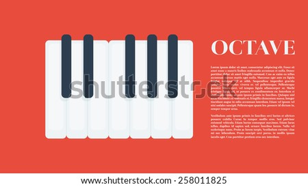 One octave piano keys in flat design with octave text on the side vector illustration. Easy edit music theme template. - stock vector