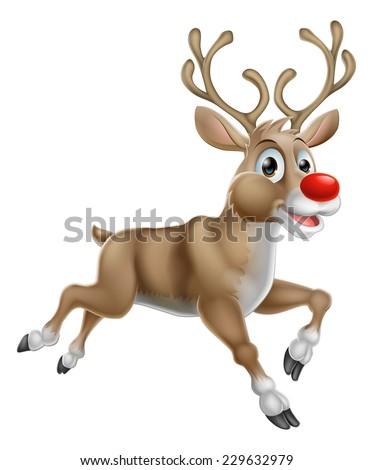 One of Santas Cute Christmas Cartoon Reindeer - stock vector