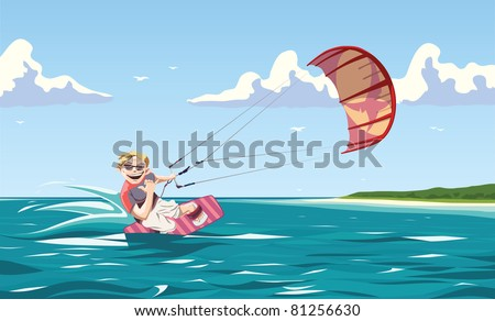 One of the greatest things in a world is kitesurfing. The glad kiter is sliding the water ripples and looking at camera with a smile.   This is the editable vector EPS file v9.0 - stock vector