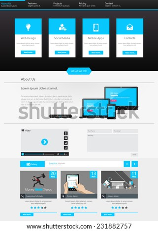 One page business website template home stock vector 231882757 one page business website template home page design clean and simple vector illustration flashek Images