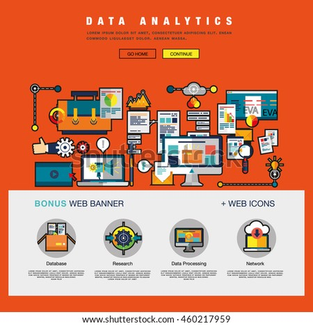 One page Data Analytics web design template with flat and line icons of business data analytics, finance statistics, web search analysis, database research. Flat concept design website elements layout