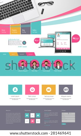 One page Flat Colorful Website Template Design  - stock vector