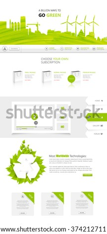 One Page Green Eco Website Design Vector - stock vector