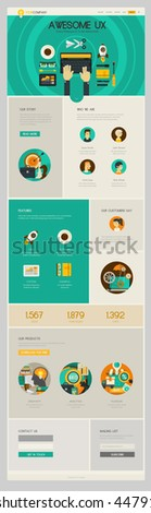 One Page Mock Up with Illustrations - stock vector