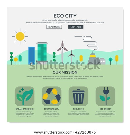 One page web design template with eco city services like urban gardering or eco energy. Flat design graphic, website elements layout. Vector illustration. - stock vector