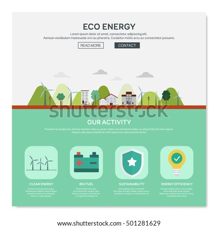 One page web design template with eco energy. Flat design graphic, website elements layout. Vector illustration.