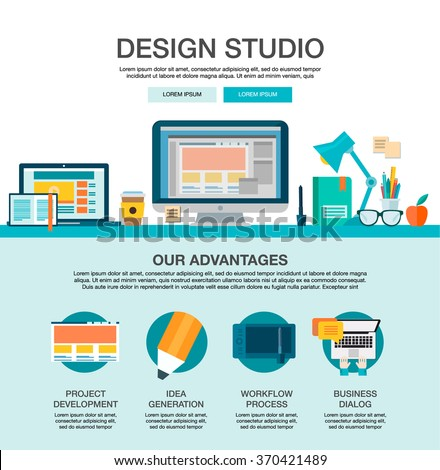 One page web design template with flat icons of design studio agency services. Digital graphics, web develop and apps prototyping. Infographics, how working digital agency, website elements layout. - stock vector