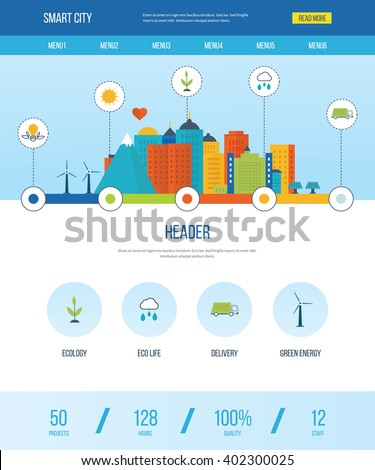 One page web design template with icons of smart city. Green eco city and eco life infographic. Modern energy safety. Ecology concept, city eco and clean planet, urban landscape concept.   - stock vector