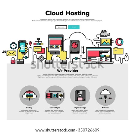 One page web design template with thin line icons of cloud hosting provider service, network server communication, business data solution. Flat design graphic hero image concept website element layout - stock vector