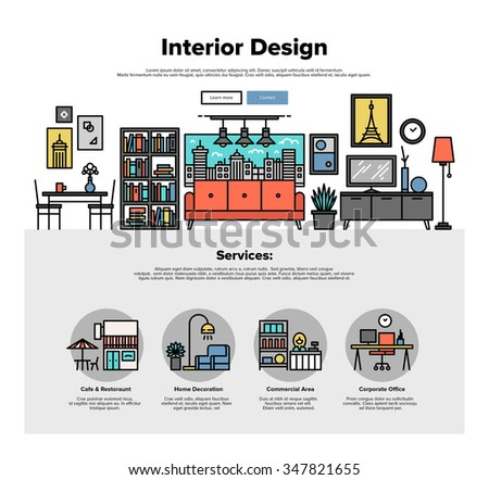 One page web design template with thin line icons of commercial property decoration, real estate interior improve, apartment dwelling. Flat design graphic hero image concept, website elements layout. - stock vector