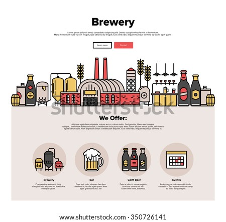 One page web design template with thin line icons of family brewery factory production, beer brewing process, traditional beer crafting. Flat design graphic hero image concept, website elements layout - stock vector