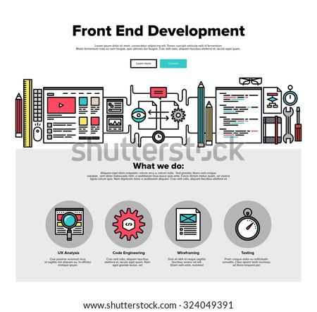 One page web design template with thin line icons of front-end development of client web software, application programming and testing. Flat design graphic hero image concept, website elements layout. - stock vector