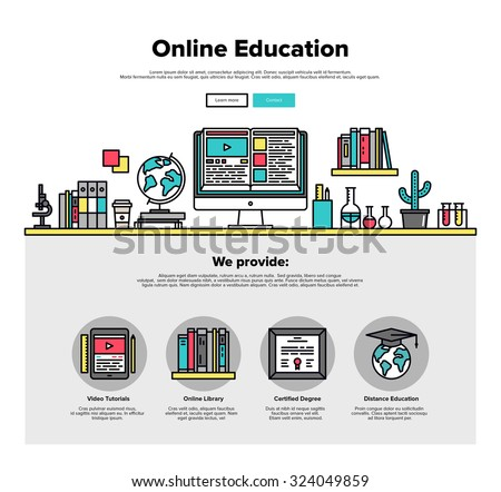One page web design template with thin line icons of internet education in online classroom, video tutorials, certified degree for all. Flat design graphic hero image concept, website elements layout. - stock vector
