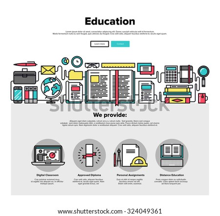 One page web design template with thin line icons of internet education, training material study, reading online book, back in school. Flat design graphic hero image concept, website elements layout. - stock vector