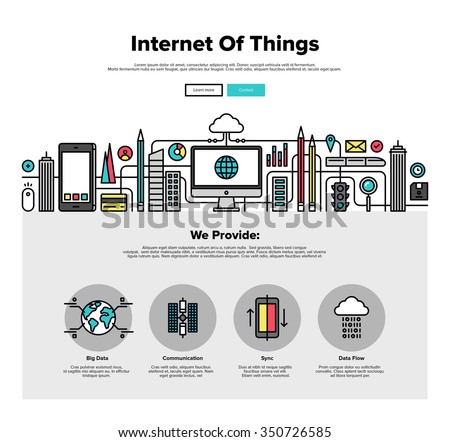 One page web design template with thin line icons of internet of things data technology, network infrastructure of connecting everything. Flat design graphic hero image concept website elements layout - stock vector