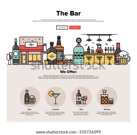 One page web design template with thin line icons of local bar counter, small town pub building, various alcohol bottles with glasses. Flat design graphic hero image concept, website elements layout. - stock vector