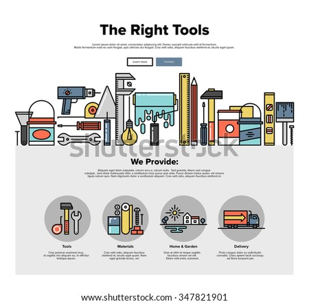 One page web design template with thin line icons of repair tools store, build instruments for workman, painting and renovation equipment. Flat design graphic hero image concept website element layout - stock vector
