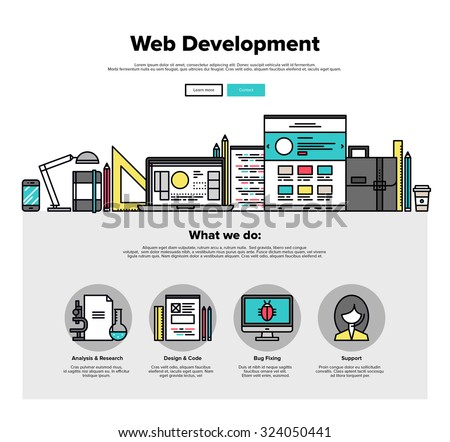 One page web design template with thin line icons of web studio services. Website optimization, SEO analysis, bug testing and fixing. Flat design graphic hero image concept, website elements layout. - stock vector