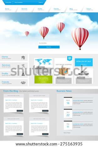 One Page Website Design for Your Business with hot air balloons realistic illustration. Vector Eps 10 - stock vector