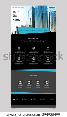One Page Website Design for Your Business with Skyscraper Background - stock vector