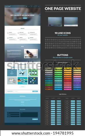 One page website design template. All in one set for website design that includes one page website templates, set of line icons, iconic buttons, light buttons, video players, flat illustrations.     - stock vector