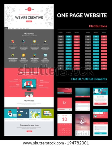 One page website design template. All in one set for website design that includes one page website template, set of flat buttons, ux/ui kit for website design, flat design concept illustrations.     - stock vector