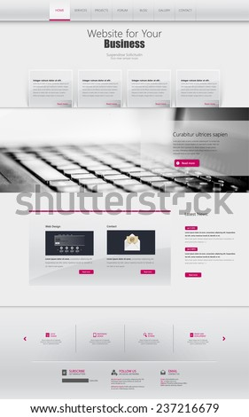 One page website design template. All in one set for website design that includes one page website template. - stock vector
