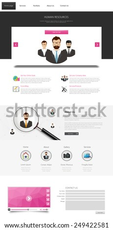 One page website design template. All in one set for website design that includes one page website templates. Teamwork theme. - stock vector