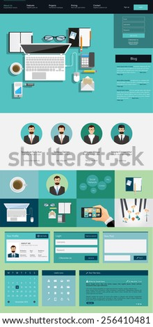 One page website design template. All in one set for website design that includes one page website templates, ux/ui kit for website design, and flat design illustrations.  - stock vector