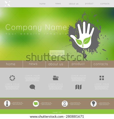 One page website design template. All in one set for website design that includes one page website templates, set of line icons, ux/ui kit for website design, and flat design illustrations.  - stock vector