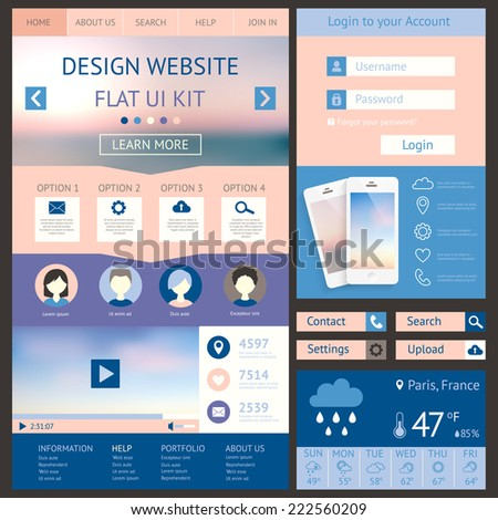 One page website design template, flat ui kit. All in one set for website design. Vector illustration  - stock vector