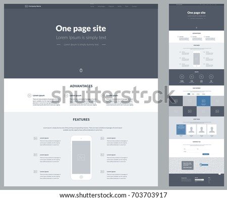 Template For Business | One Page Website Design Template Business Vector De Stock703703917