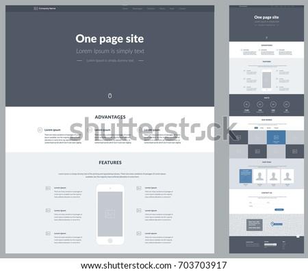 One Page Website Design Template Business Stock-Vektorgrafik ...