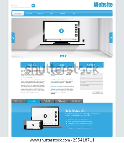 One Page Website Design Template for Your Business - stock vector