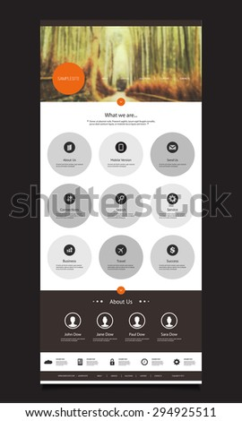 One Page Website Design Template for Your Business with Bamboo Forest Photo Background - stock vector