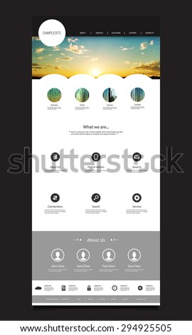 One Page Website Design Template for Your Business with Sunset Photo Background - stock vector