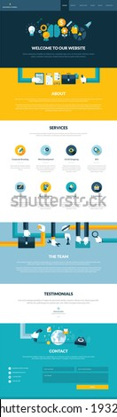 One page website design template in flat design style - stock vector
