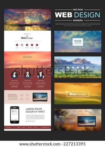one page website design template with blur landscape background - stock vector