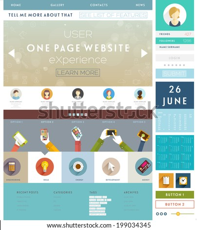 One Page Website Design Template with UI Elements kit and Flat Design Concept Icons. Mobile Phones and Tablet PC Designs. Set of Forms and Buttons. Vector.  - stock vector