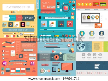 One Page Website Design Template with UI Elements kit and Flat Design Concept Icons. Mobile Phones and Tablet PC Designs. Set of Forms, Dividers, Borders and Buttons. Business Style. Vector.  - stock vector