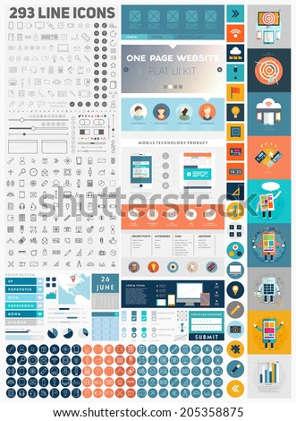 One Page Website Design Template with UI Elements kit and Flat Design Concept Icons. Mobile Phones and Tablet PC Designs. Set of Forms, Dividers, Borders and Buttons. Business Style. 300+ Line Icons. - stock vector