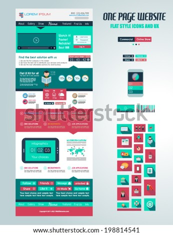 One page website flat UI design template. It include a lot of flat stlyle icons, forms, header, footeer, menu, banner and spaces for pictures and icons all in one page.