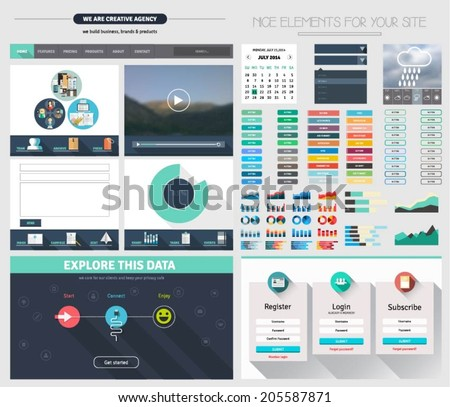 One page website flat UI design template with icons, forms, header, option menu, banner, buttons, register and log in menu, calendar menu, etc. - stock vector
