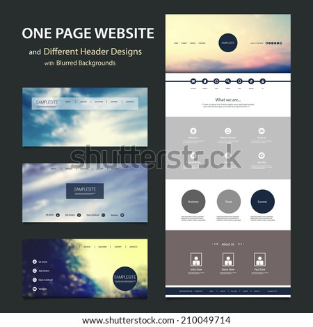 one page website template different header stock vector 210049714 shutterstock. Black Bedroom Furniture Sets. Home Design Ideas