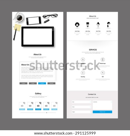 One Page Website Template and Header Designs - stock vector