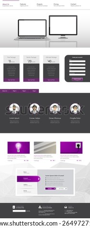 one page website template design  - stock vector