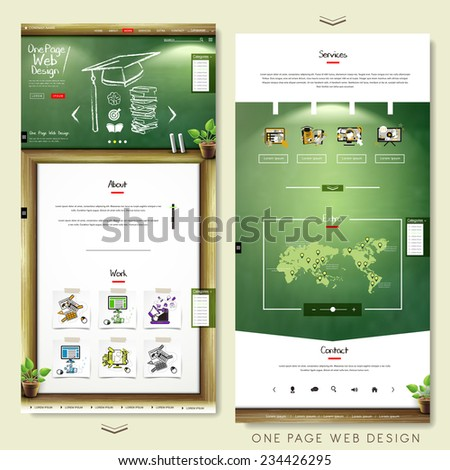 one page website template design with education concept  - stock vector